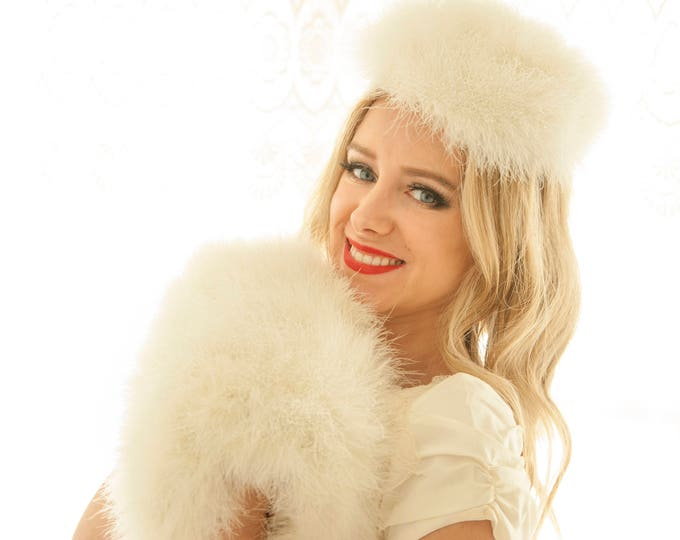 Vintage white feather hat and muff set, 1950s winter wedding bridal formal, ivory marabou, hand warmer