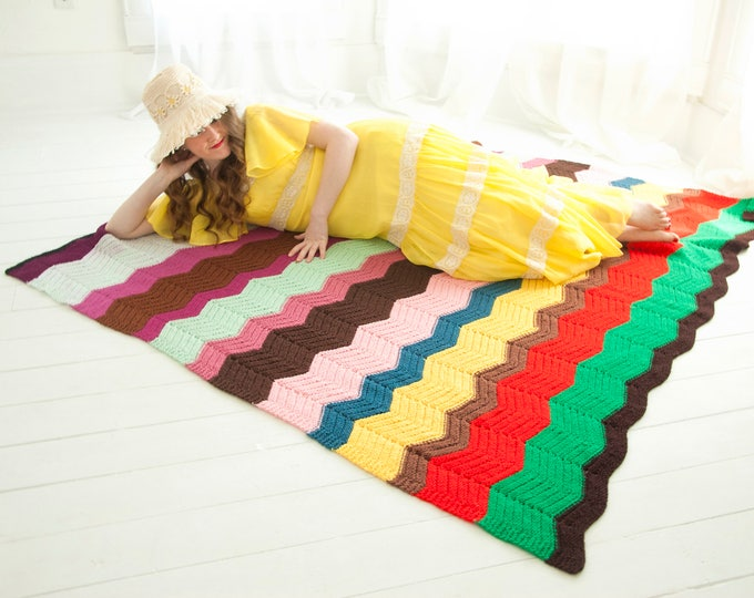 Vintage chevron afghan throw blanket, colorful stripes, red burgundy green, handmade zig-zag 1970s retro