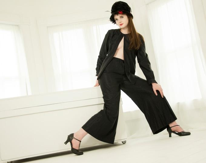 Vintage black palazzo pants top set, two-piece suit, high-waist wide-leg striped blouse outfit, retro 1970s M L