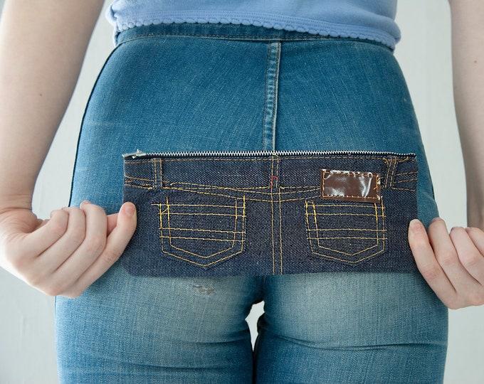 Vintage denim clutch purse, blue jean rear pockets coin pencil pouch bag tote, cotton 1970s boho retro NOS