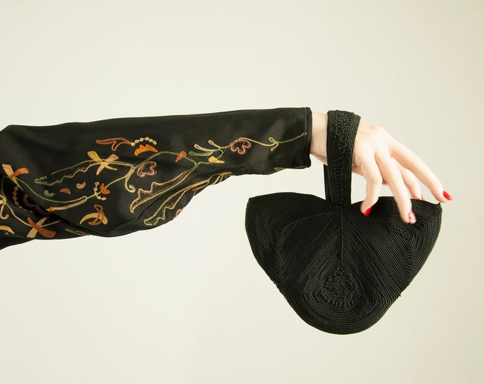 Vintage 1940s black cordé purse wristlet, formal tulip floral shaped small handbag