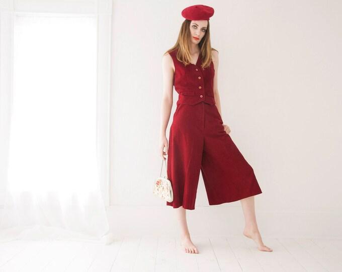 Vintage red gaucho pants vest set, high waist wide-leg midi, sleeveless corduroy pantsuit boho 1970s two-piece suit outfit, S