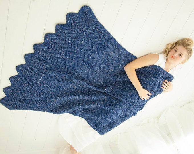 Vintage blue chevron afghan, throw lap accent ripple blanket handmade crochet home decor, 1970s boho retro boho