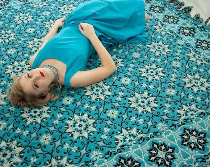 Vintage turquoise bedspread, large floral woven blanket comforter, black white blue bedding, 1960s cotton wool fringe, reversible Moroccan