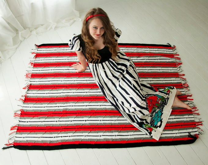 Vintage red striped afghan throw blanket, black white gray stripes, 1970s crochet fringe