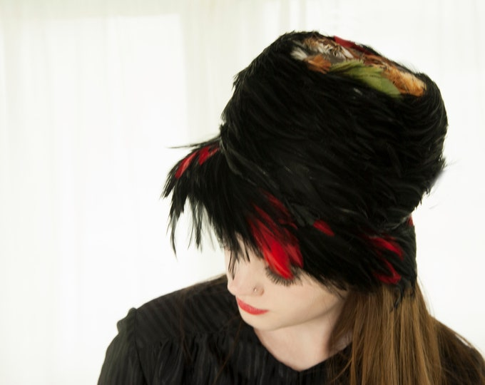 Vintage black feathers hat, red tall brim formal 1960s pin-up formal