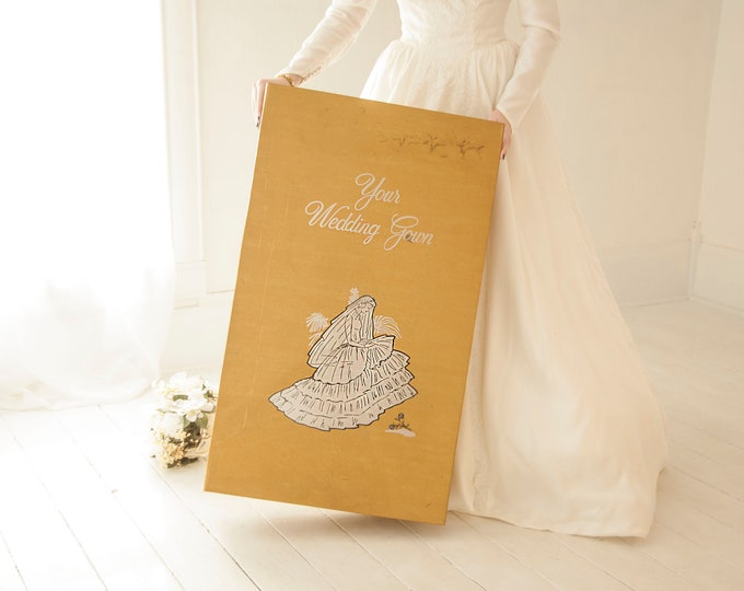 Vintage wedding dress box, extra large gold storybook cardboard clothing storage, 1950s pin-up style bride bridal gown