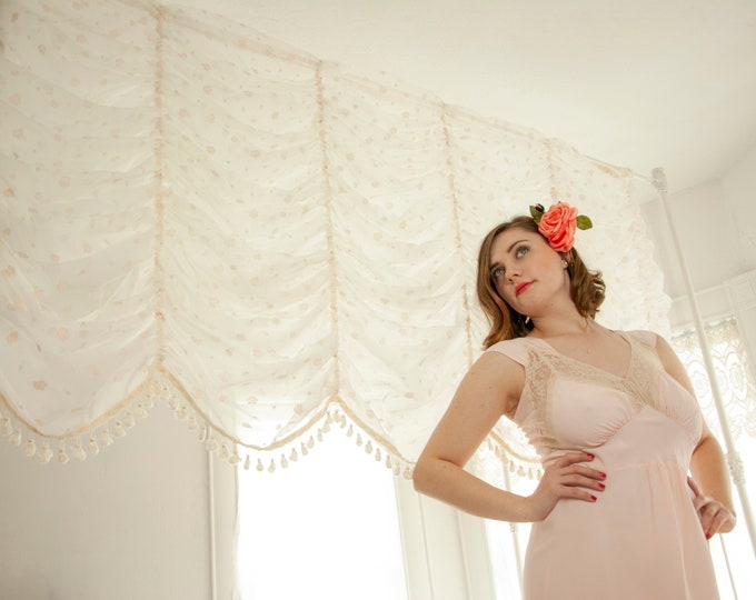 Vintage 1950s sheer white curtains, wide chiffon drapes, pink floral velvet flocked roses, two long panels, tassels, pin-up boudoir bedroom