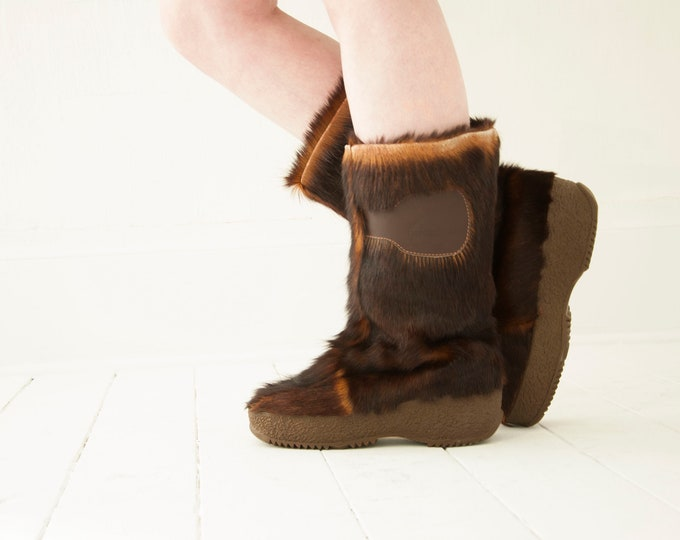 Vintage brown fur boots, Alpine yeti leather winter pull-on chukka, Italy 1970s 10