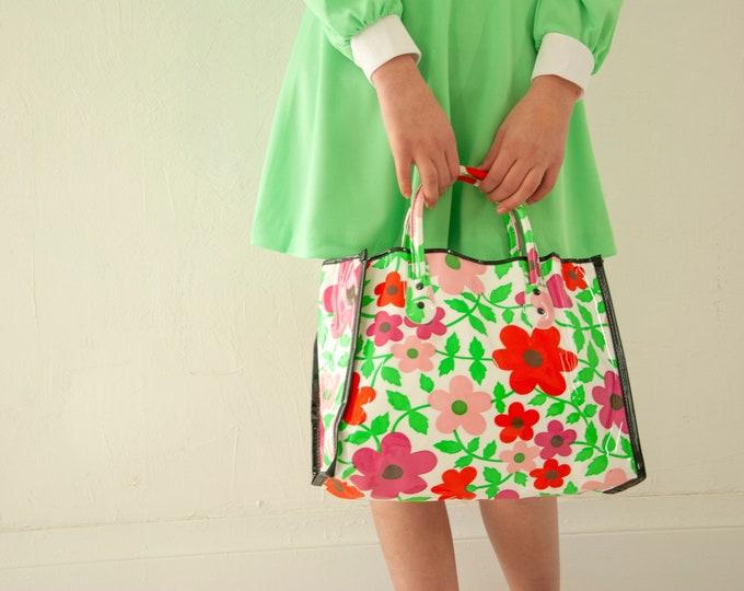 Vintage floral vinyl bag, 1960s shoulder handbag purse tote, faux patent leather, white red pink green mod, rare