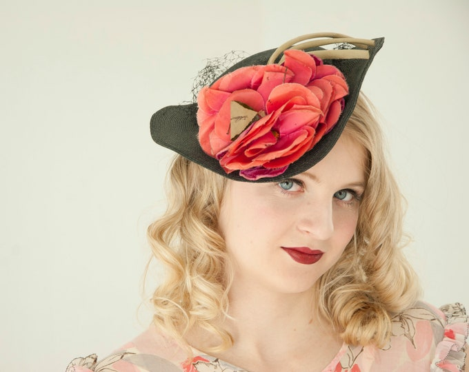 Vintage 1930s pink rose hat, black floral formal netting veil red fascinator poppy flower 1940s pin-up Victorian
