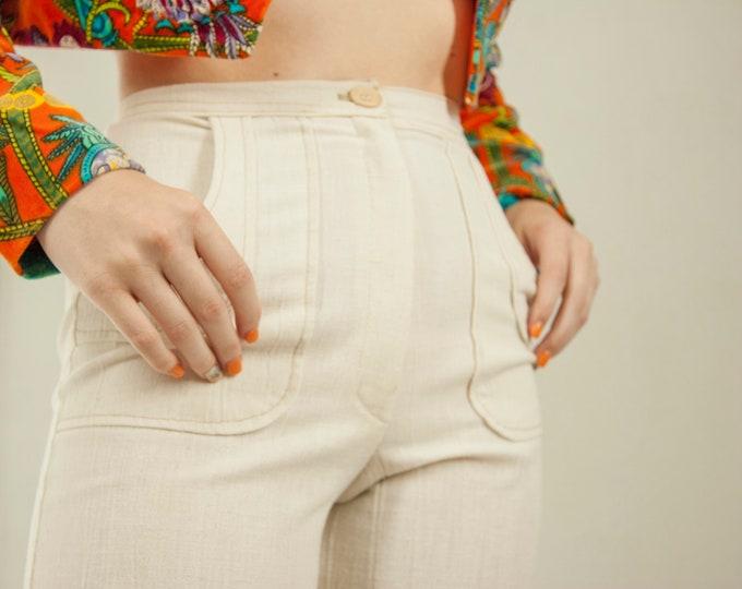 Vintage white high waist pants, ivory wide leg cotton linen slacks, bellbottoms XS 1970s retro boho