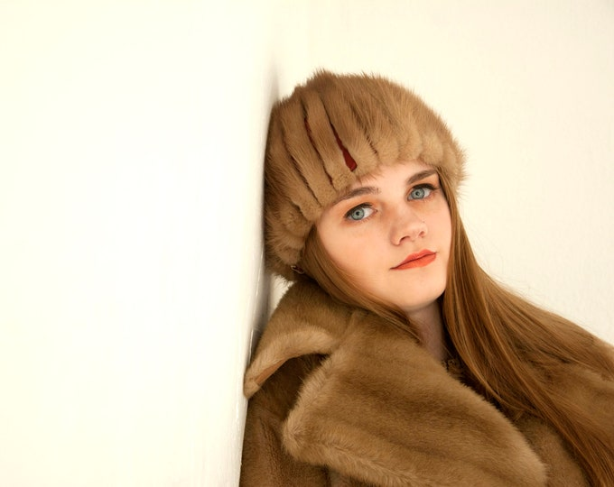 Vintage brown fur beanie hat, tan mink red striped 1960s mod fall winter cap