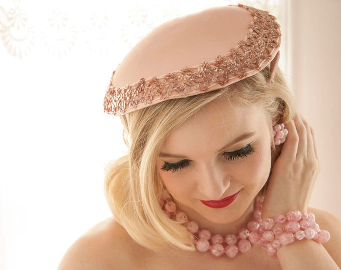 Vintage 1950s pink satin hat, sequins headpiece, formal prom pin-up