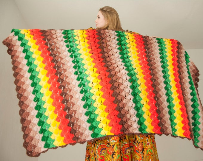 Vintage colorful stripes afghan throw blanket, red yellow green brown rainbow acrylic chevron, 1970s retro Rasta decor