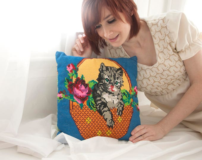 Vintage cat needlepoint pillow, small square blue floral colorful throw accent, boho home decor 1970s cross-stitch