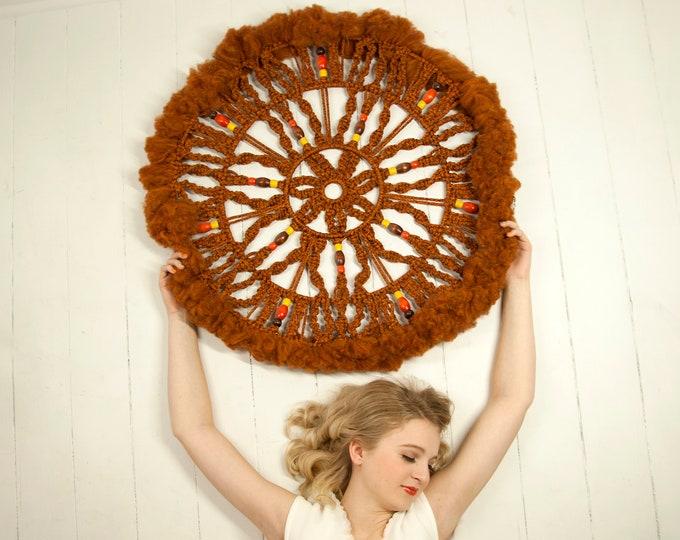 Vintage large brown dreamcatcher, round woven macrame wood beaded wall hanging, circle circular decor boho, orange yellow, 1970s retro