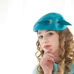 RESERVED Vintage 1950s turquoise hat, blue wool formal beret style, silver rivets dots, bow pin-up prom