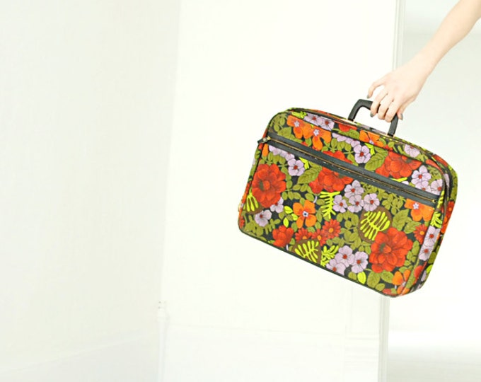 Vintage floral suitcase, red purple black green fabric small mod 1960s retro 1970s travel bag