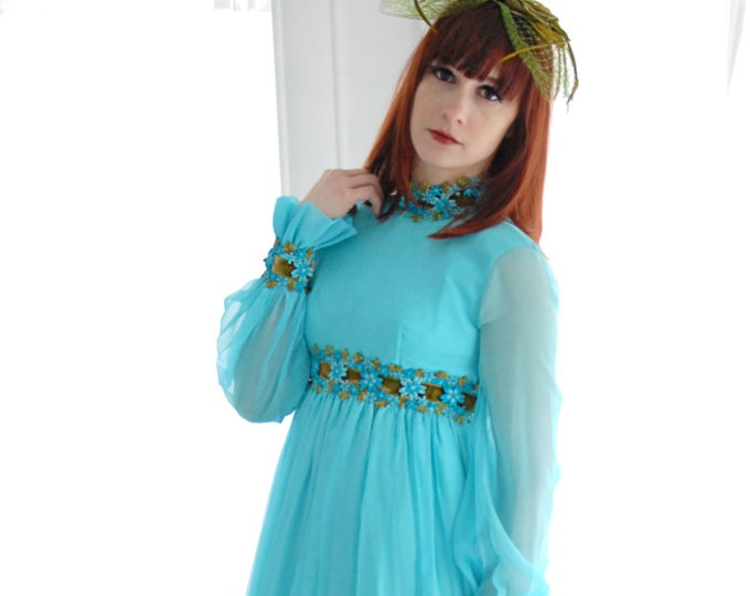 Vintage blue formal dress, sheer chiffon long sleeves 1960s empire waist, turquoise avocado green floral, XXS XS SALE