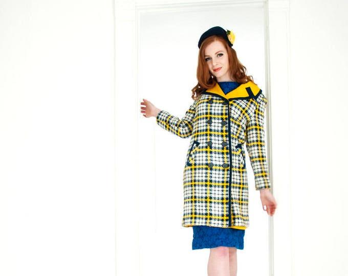 Vintage yellow plaid jacket, wool blue white tartan pea coat, peacoat collar 1960s mod 1970s retro NOS S M