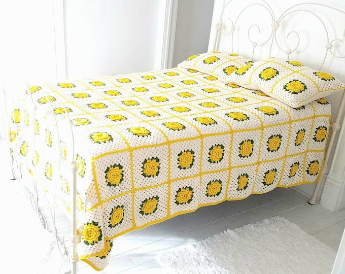 Vintage large yellow floral afghan sham set, bedspread blanket, white green flowers, granny square, 1970s retro full queen size