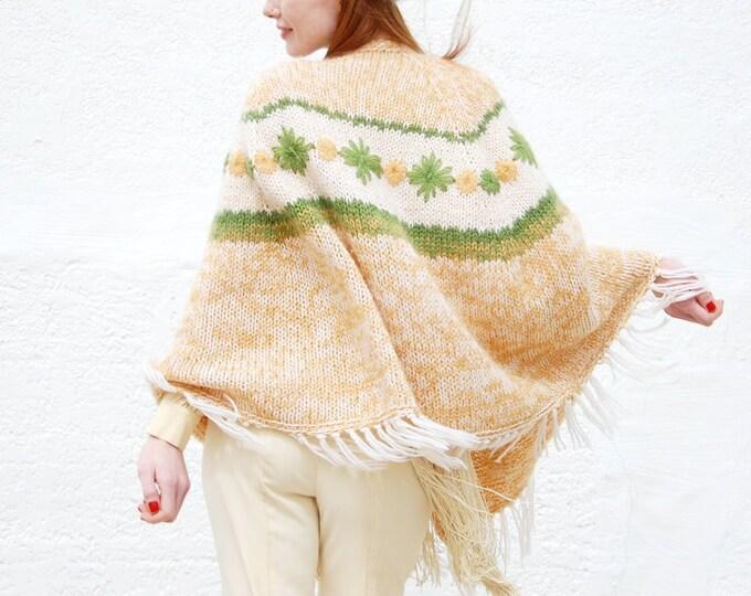 Vintage floral knit shawl, ivory white avocado green yellow mohair wool boho sweater poncho cape jacket, fringe