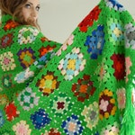Vintage granny square afghan throw blanket, green colorful rainbow, fringe 1970s