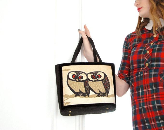 Vintage owl purse, 1960s black white red kelly handbag