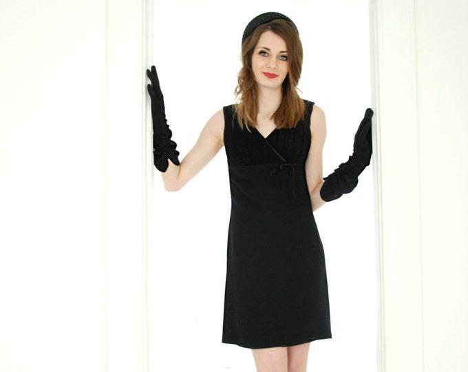 Vintage sleeveless black mini dress, 1960s empire waist mod formal XS S