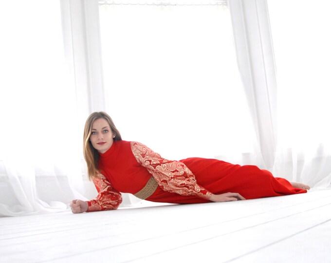 Vintage red maxi dress, long sleeves gold paisley metallic bishop balloon, high waist, 1970s, S long