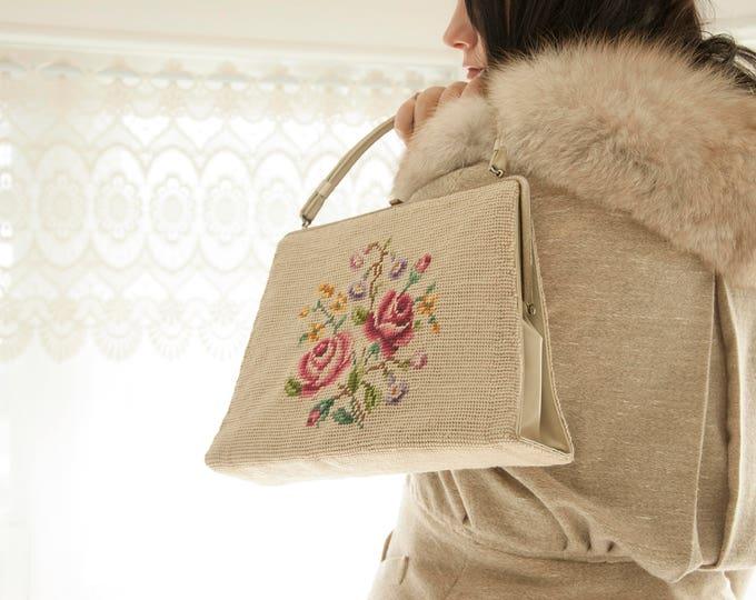 Vintage floral needlepoint purse, oatmeal rose beige pink 1960s mod kelly handbag 1950s