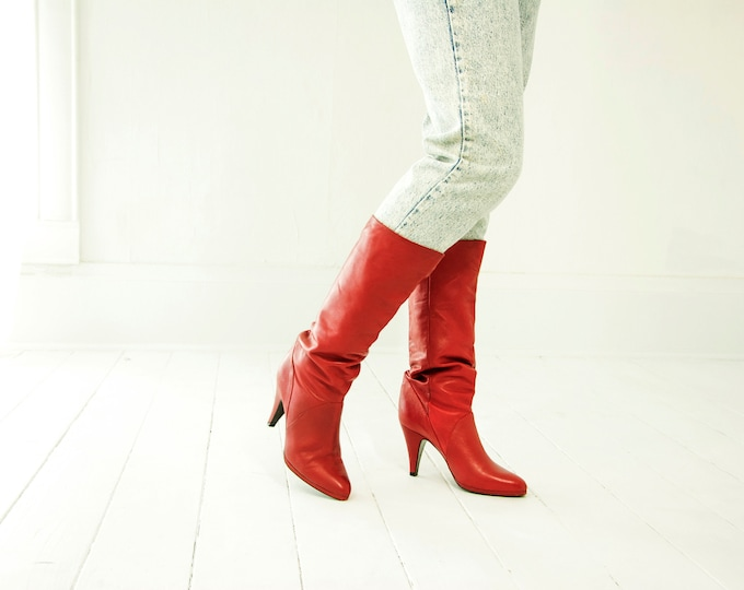 Vintage red leather boots, ox blood sexy pull-on slouch, tall calf sexy 1980s 8