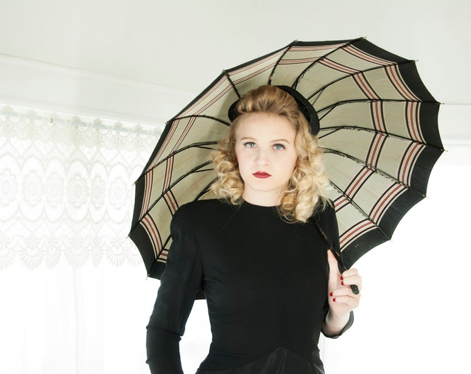 Vintage 1940s gray striped umbrella, red black, 1950s pin-up as-is PK
