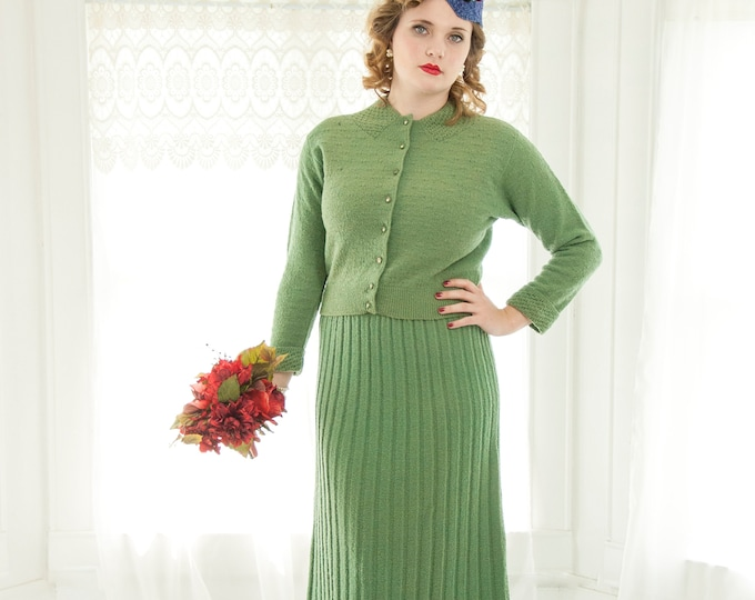 RESERVED Vintage 1930s green knit dress set suit, sage wool midi long dolman sleeve sweater, rhinestone buttons, 1940s pin-up, L XL
