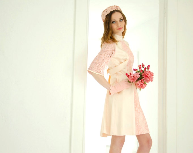 Vintage pink formal mini dress, lace bell sleeves, empire waist, S 1960s mod