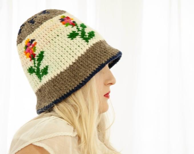 Vintage floral knit stocking hat, wool winter crochet cap 1970s boho retro