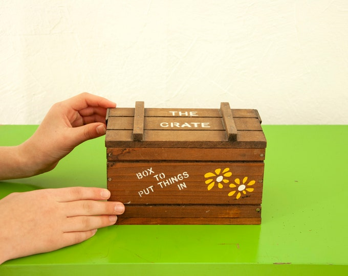 """Vintage """"Box to Put Things In"""" small wooden crate, brown wood storage container, yellow daisy floral stuff organizer decor, 1970s retro gift"""