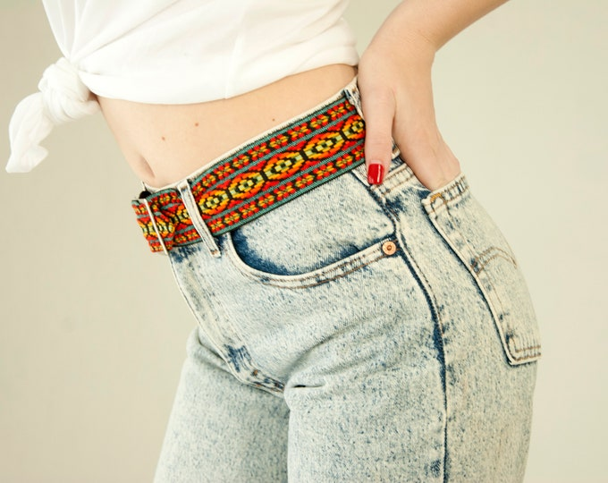 Vintage rainbow belt, woven boho red turquoise colorful wide, 1970s 1980s retro XS S