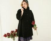 Vintage 1950s black Persian lamb coat, curly faux fur long collar vegan wool jacket, pin-up 1960s French France L