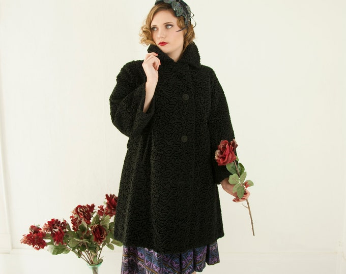 Vintage 1950s black Persian lamb coat, curly faux fur long collar vegan wool jacket, pin-up 1960s French France L