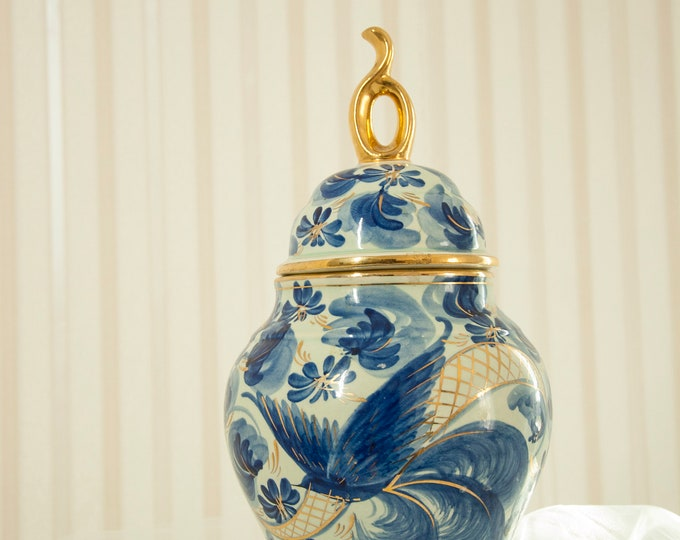Vintage cobalt blue bird jar, large container with lid, gold hand-painted ceramic pottery H. Bequet Quaregnon, Belgium, Delft style