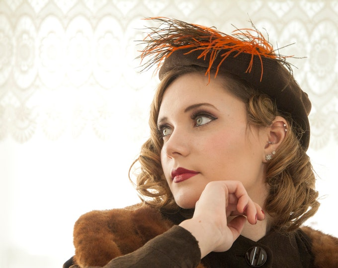 Vintage 1900s brown wool hat, burnt orange marabou feathers, Edwardian early century Victorian 1910s