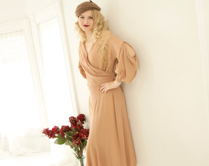 Vintage 1930s rose-beige dress, lace back, art deco evening gown, pink nude, cold sleeve, Hollywood film noir formal midi XS S