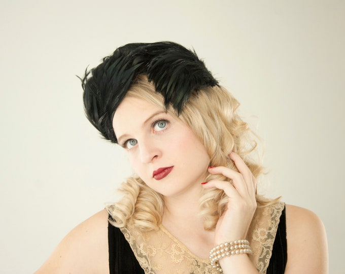 Vintage 1930s black feather casque hat, formal fascinator headpiece pin-up