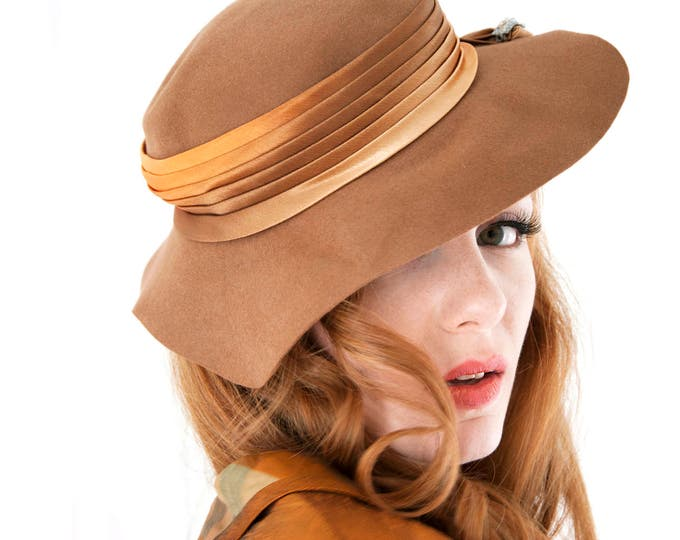 Vintage floppy hat, brown wool copper gold satin sunhat, rhinestones, 1950s 1960s