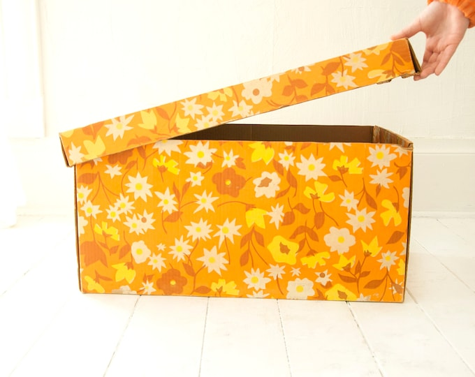 Vintage large orange floral box, yellow gold cardboard clothing storage tote case container retro under-bed, 1970s
