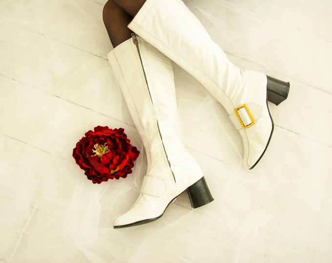 Vintage 1960s white go-go boots, genuine leather tall, gold buckles, chunky black heel, mod 5.5 Italy