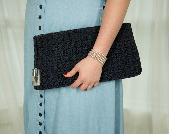 Vintage 1940s large navy clutch purse, dark blue cordé handbag, clear Lucite zipper pull, crochet formal pin-up