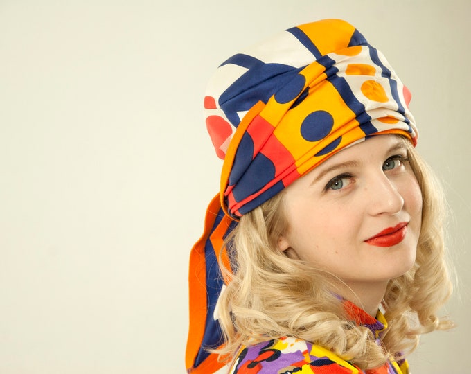 Vintage colorful turban hat, tall silk scarf, orange blue white, polka dots  1960s 1970s
